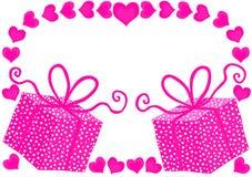 Serce prezentów bożych narodzeń menchii etykietka ilustracji