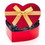 Serce prezenta kształtny pudełko Zdjęcia Royalty Free