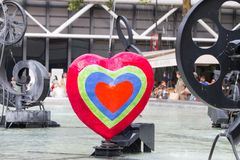 Serce przy Stravinsky fontanną Paryż Obraz Stock