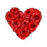 Serce róże na białym tle Zdjęcia Royalty Free