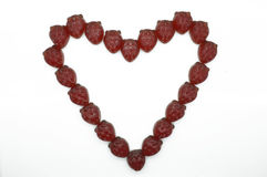 Serce rama, granica gummi truskawki czerwona galareta Obraz Royalty Free