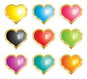 serce ramowe złociste ikony ustawiają Zdjęcia Stock