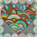 Serce robić doodle elementy Stylizowana kwiecista fantazi karta, pocztówka dla walentynki, wzór miłość Zen gmatwanina Etniczny el Obraz Royalty Free