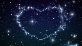 Serce robić okamgnienie Gra główna rolę w Pięknym nocnym niebie Cząsteczki i iskry w Kierowym kształcie HD 1080 royalty ilustracja