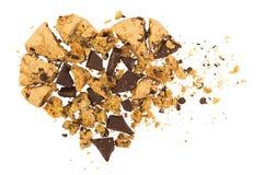 Serce robić od czerepów ciastka i czekolada Obrazy Stock