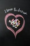 Serce rysujący na blackboard z kredą Zdjęcie Stock