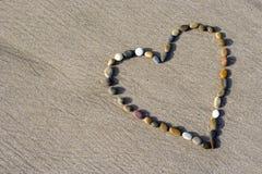 serce się piasek mały kamień Zdjęcie Stock
