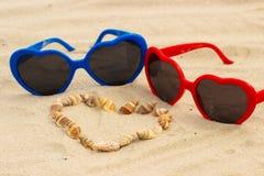 Serce skorupy i okulary przeciwsłoneczni na piasku przy plażą Obraz Royalty Free