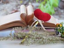Serce stara książka, bookmark czerwony serce, suszący kwiaty, pojęcie miłość i pary, Obrazy Royalty Free