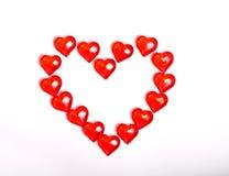 Serce stawiający od szklanych czerwonych serc Zdjęcie Stock