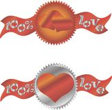 Serce szyldowa ikona czerwone róże miłości tła symbolu white Świadectwo emblemat Fotografia Stock