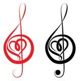 Serce treble clef i basowy clef Fotografia Royalty Free