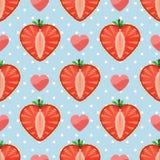Serce truskawkowe jagody, serca i polki kropka, ja Ilustracja Wektor