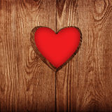 Serce w drewnie   Obrazy Stock
