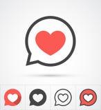 Serce w mowa bąbla ikonie wektor zdjęcie stock