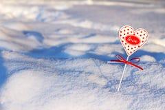 serce w śniegu Zdjęcia Stock