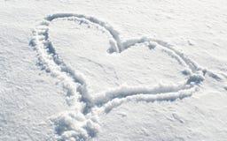 Serce w śniegu Fotografia Stock