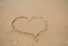 Serce w piasku Obrazy Stock