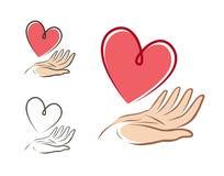 Serce w ręce, logo lub etykietce, Zdrowie, miłość, życie, dobroczynności ikona również zwrócić corel ilustracji wektora royalty ilustracja