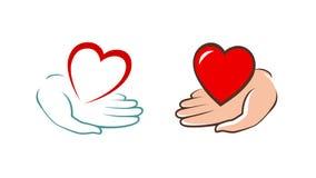 Serce w ręka logu Dobroczynność, pomoc, darowizny ikona wektor ilustracja wektor
