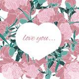 Serce wyplatający gałąź Rama różowi peonia kwiaty, liście na białym tle i ilustracji