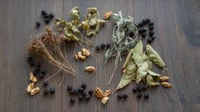 Serce wysuszone wiśnie, dokrętki i suszący liście herbata, obraz stock