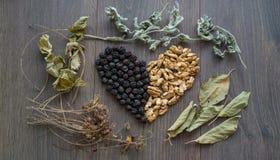 Serce wysuszone wiśnie, dokrętki i suszący liście herbata, obrazy stock
