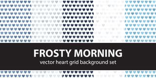 Serce wzoru ustalony Mroźny ranek bezszwowy tło wektor royalty ilustracja