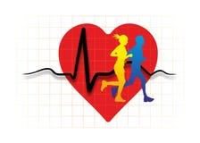 Serce z biegaczami Zdjęcia Stock