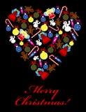 Serce z Bożenarodzeniowymi ornamentami Zdjęcia Stock