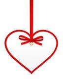 Serce z czerwonym łękiem Zdjęcie Royalty Free