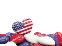 Serce z flaga zlani stany America Zdjęcie Stock