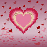 Serce z inskrypcją, cień, tło latający serca Fotografia Stock