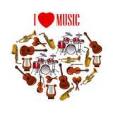 Serce z instrumentami muzycznymi dla sztuka projekta ilustracji
