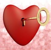 Serce Z Kluczem I Różowym Bokeh Tłem Zdjęcie Royalty Free