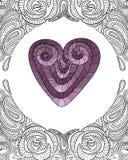 Serce z kwiecistym doodle pokrywy tła wzorem Zdjęcie Royalty Free