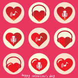 Serce z muzycznym ikona setem Obraz Royalty Free