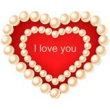 Serce z perłami Zdjęcia Royalty Free