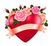 Serce z różami i faborkiem royalty ilustracja