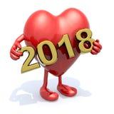 Serce z rękami, nogami i 3D 2018 inskrypcją, Obraz Stock