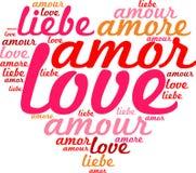 Serce z słowa miłością w wiele języki royalty ilustracja
