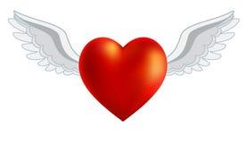 Serce z skrzydłami dla walentynki ` s ślubów lub dnia Zdjęcia Stock