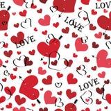 Serce z strzała z słowo miłością i. Bezszwowy patt Royalty Ilustracja