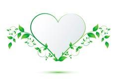 Serce z zielonymi liśćmi Fotografia Stock