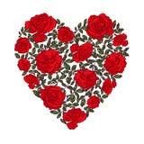 Serce zrobił kwiecistemu kształtowi z liśćmi i różami ilustracja wektor