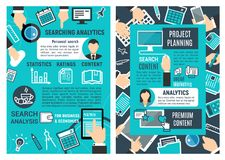 Web analytic infographic design. Serch and analytic infographic design. Web analytics design, statistics, ratings and content concept. Web analytics, data