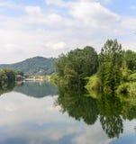 Serchio河,托斯卡纳(意大利) 免版税库存图片