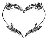 Sercowata czarny i biały rama z kwiecistymi sylwetkami Obrazy Royalty Free