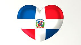 Sercowata flaga 3D ilustracja kocham republiki dominikańskiej ilustracja wektor