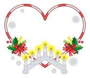 Sercowata rama z Bożenarodzeniowymi dekoracjami i lekka świeczka wysklepiamy ilustracji